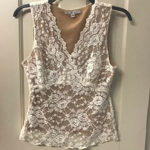 cAbi cream tank with lace overlay
